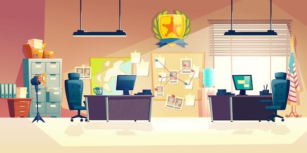 Police station office room interior cartoon illustration Free Vector