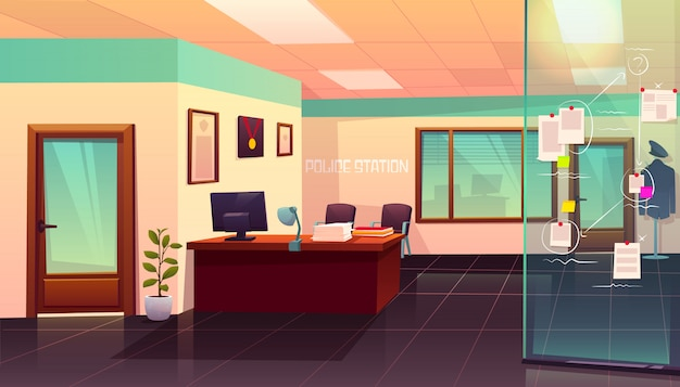 Police station room interior with evidence board illustration Free Vector