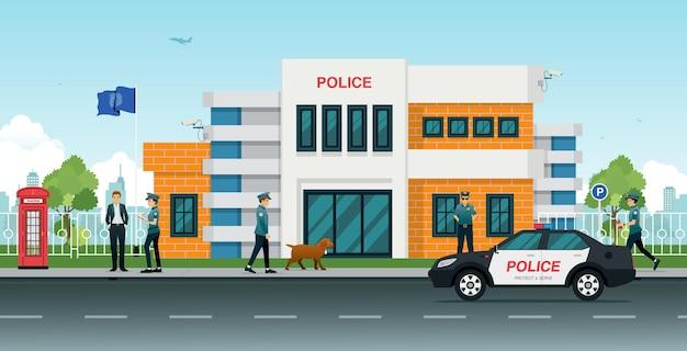 パトカーと警察の男性と女性がいる警察署。 Premiumベクター