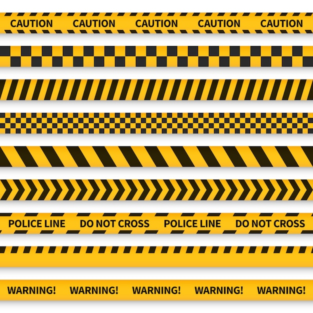 Police tape. yellow taped barricade warning danger police stripes crime safety line attention border barrier, flat set Premium Vector