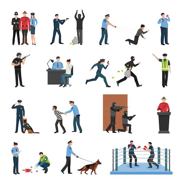 Police team training flat icons set Free Vector