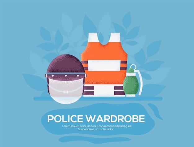 警察のワードローブのチラシ、雑誌、ポスター、本の表紙、バナー。 。 Premiumベクター