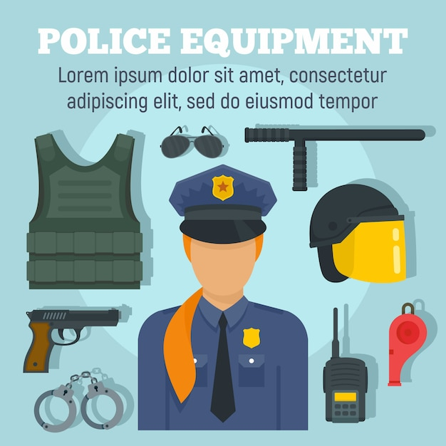 Police weapon equipment template, flat style Premium Vector