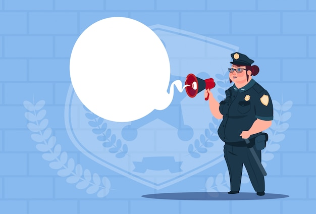 Police woman planning action on white board wearing uniform female guard on blue bricks background Premium Vector