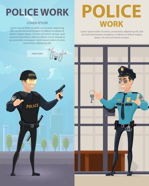 Police work vertical banners Free Vector