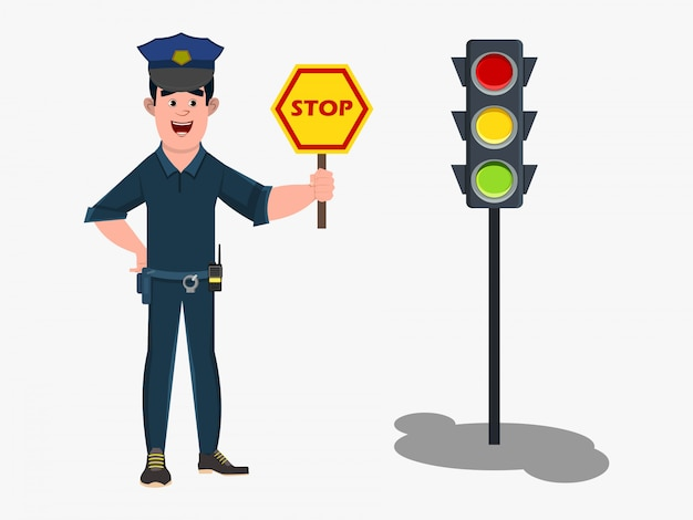 Policeman cartoon character standing in a traffic signal and showing stop road sign. Premium Vector