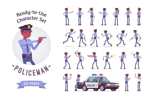 Policeman character set Premium Vector