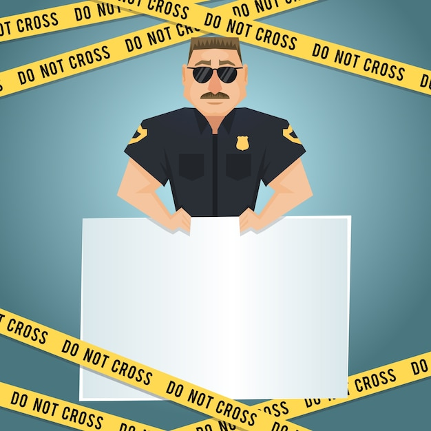 Policeman character with blank board and yellow do not cross tape poster vector illustration Free Vector