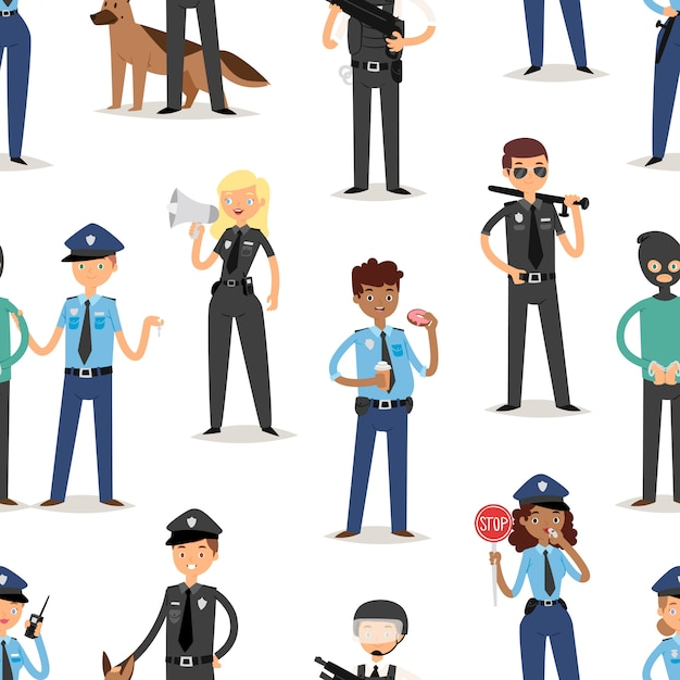 Policeman characters funny cartoon man pilice person uniform cop standing people security  illustration seamless pattern background Premium Vector