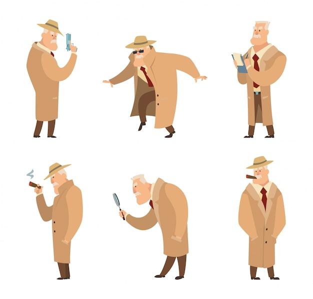 Policeman or detective search criminal. Premium Vector