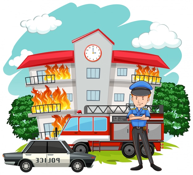 Policeman and fire at the building Free Vector