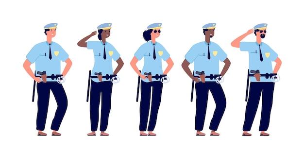 警官グループ。警官、警察官、警官の制服を着た女性 Premiumベクター