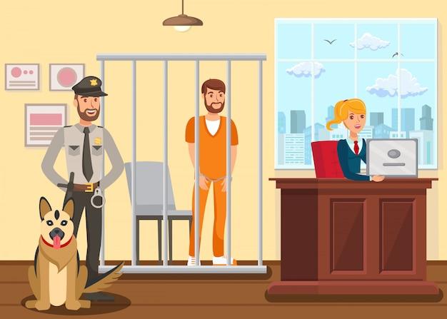 Полицейский охраняет подозреваемого Premium векторы