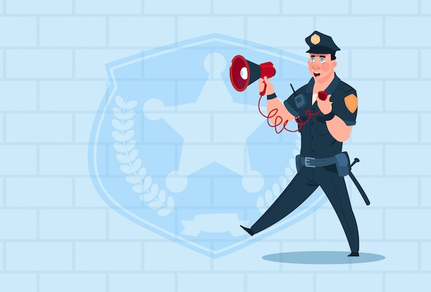 Policeman hold megaphone wearing uniform cop guard over brick background Premium Vector