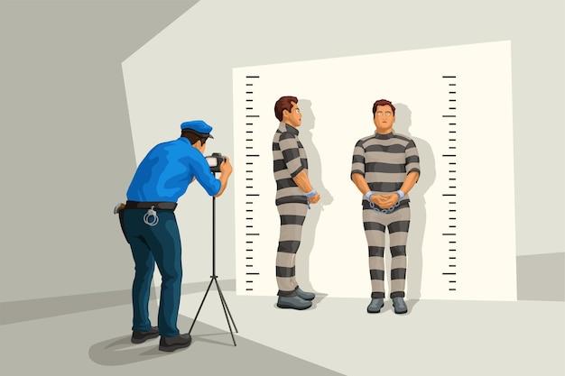 Полицейский в форме фотографирует стену Premium векторы