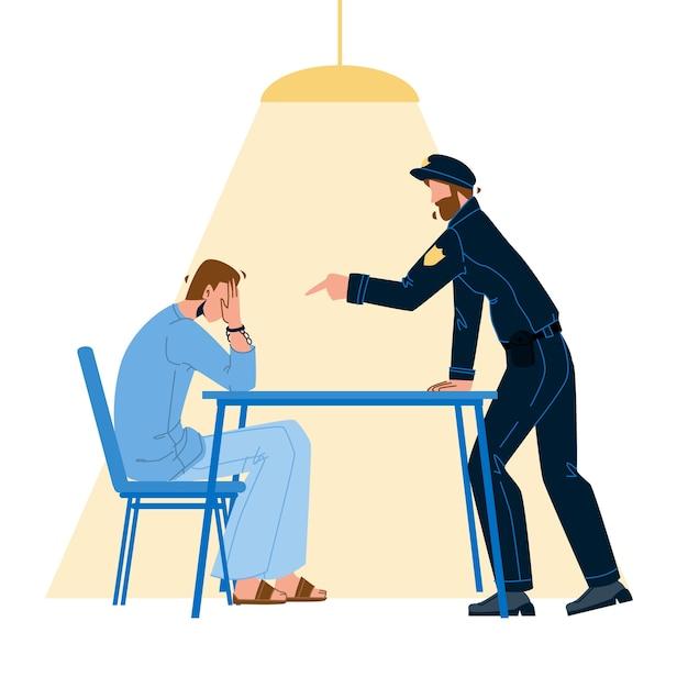 Полицейский допрос уголовного заключенного Premium векторы