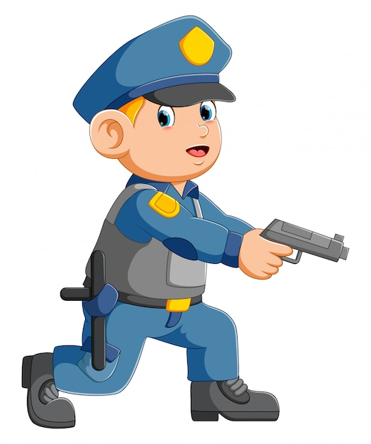 Policeman officer aiming with pistol Premium Vector