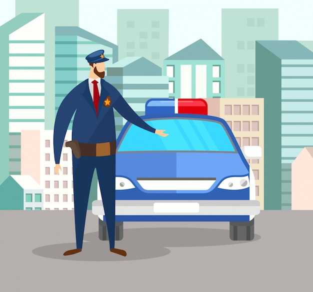 Policeman officer in uniform stand near police car Premium Vector