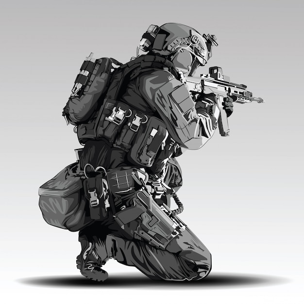 Policeman tactical shoot illustration. armed police military preparing to shoot with automatic rifle. Premium Vector