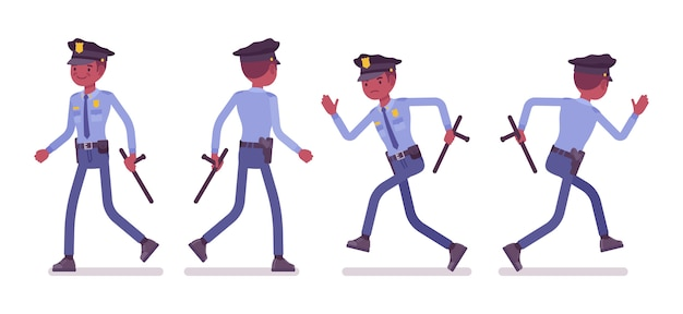 Policeman walking and running banner Premium Vector