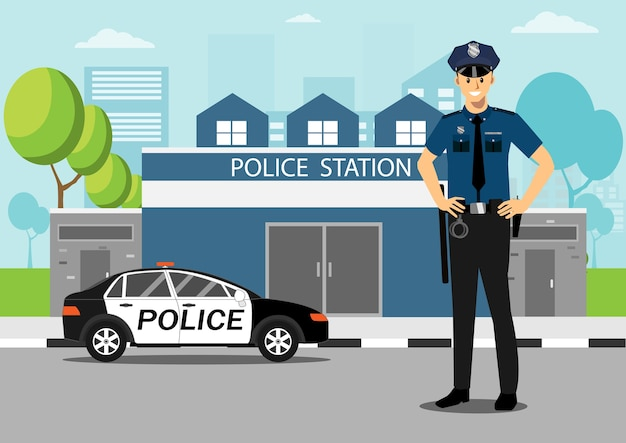 Policeman with police car in front of police station. Premium Vector