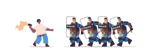 Policemen in full tactical gear riot police attacking african american protester during clashes demonstration protest Premium Vector