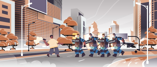 Policemen in full tactical gear riot police officers attacking african american protester with smoke bomb during clashes demonstration protest concept cityscape horizontal vector illustrat Premium Vector