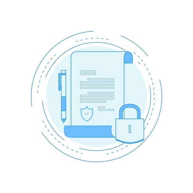 policy insurance signing contract confidential document  policy insurance signing contract confidential document certificate diploma flat line premium vector
