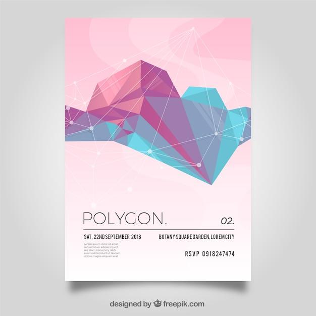 Poligonal flyer in soft colors Free Vector