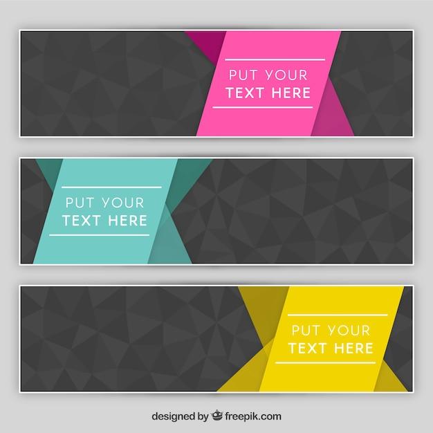 چند ضلعی آگهی ها خاکستری مجموعه ای با روبان های رنگارنگ
