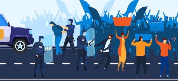 政治危機、デモ、警察は人々のイラストに抗議することに抵抗します。 Premiumベクター