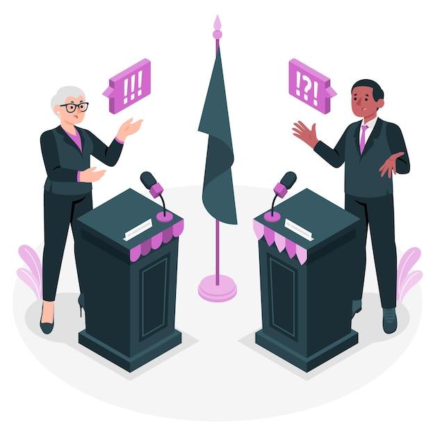 Иллюстрация концепции политических дебатов Бесплатные векторы