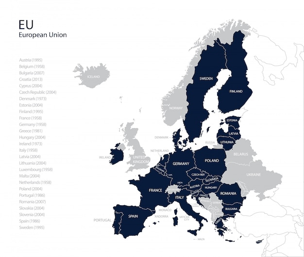 Map Of Spain And United Kingdom.Political Map Of Eu European Union Without United Kingdom Vector