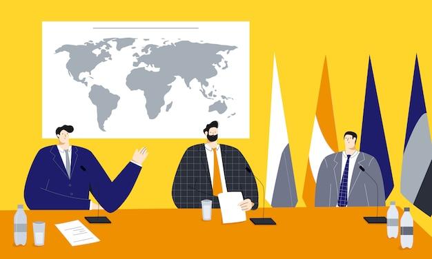 Векторная иллюстрация политического саммита с мужчинами-политиками, сидящими возле карты мира и флагов Premium векторы