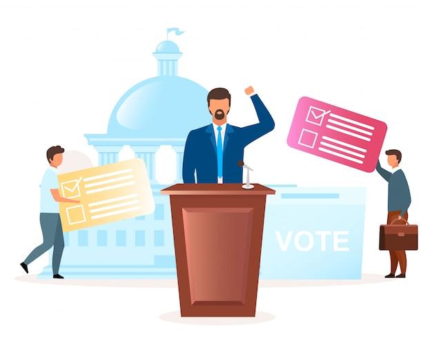 政治システムのメタファーフラットイラスト。選挙運動。大統領、議会を選択します。対抗パーティー。民主主義の行為。新しいリーダーの漫画のキャラクターへの投票 Premiumベクター