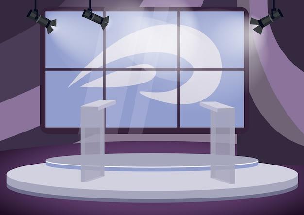 政治トークショースタジオカラーイラスト。背景の画面と空のステージ漫画のインテリア。プロのテレビ番組制作。スポットライトで表彰台のtribunes Premiumベクター