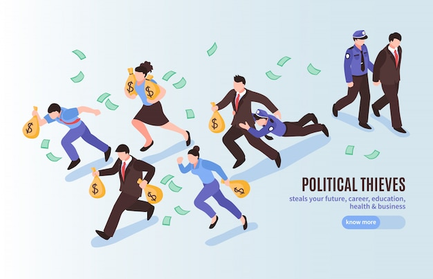 Political thieves isometric poster with officials with bags of money running away from police Free Vector