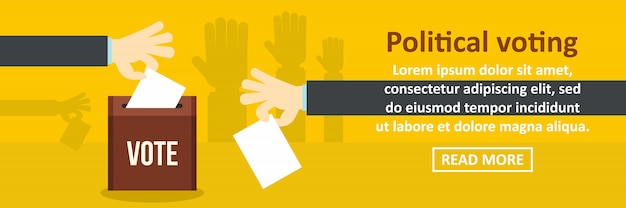 Political voting banner template horizontal concept Premium Vector