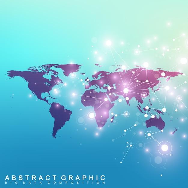 Политическая карта мира с концепцией глобальной сети технологий. научные кибернетические соединения частиц .. Premium векторы