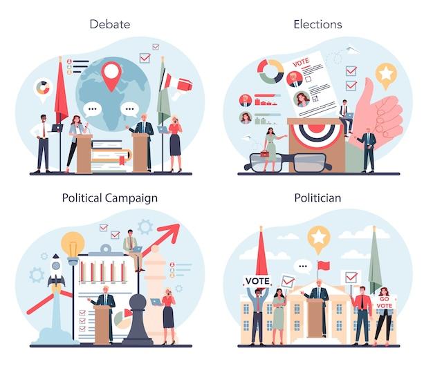 政治家の概念セット。選挙と統治のアイデア。 Premiumベクター