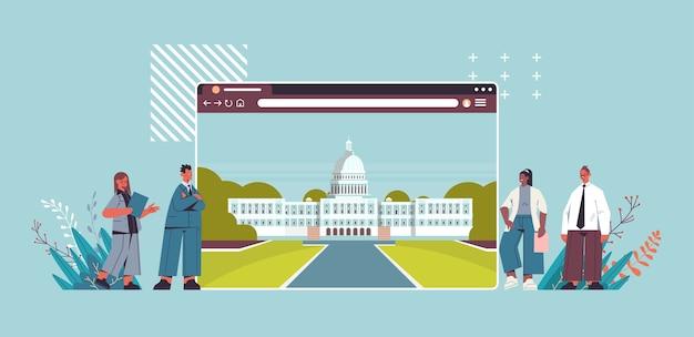 Politicians team near american digital government building in web browser window white house washington dc horizontal Premium Vector