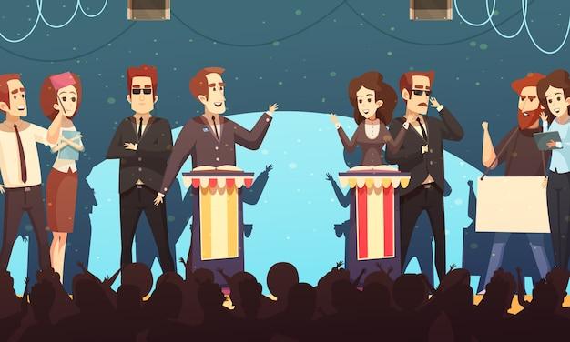 Politics election debates cartoon Free Vector