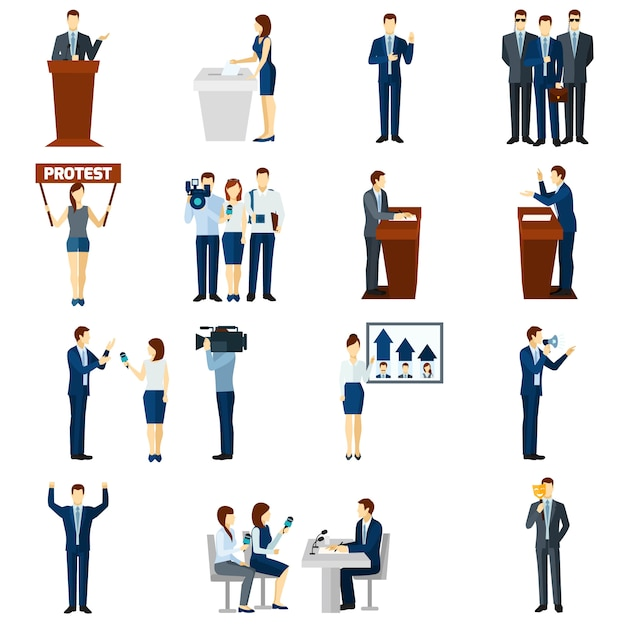 Politics flat icons set Free Vector