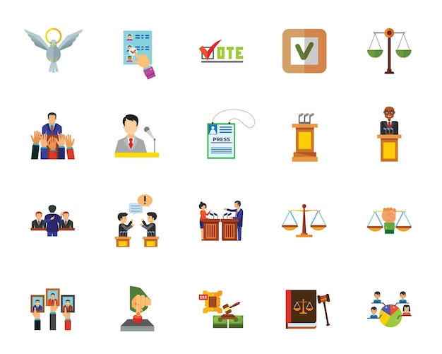 Politics icon set Free Vector