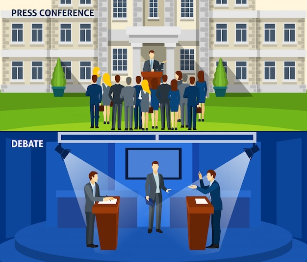 Politics two flat banners set Free Vector
