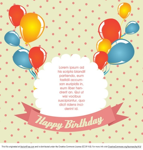 Polka Dot Birthday Card Vector Free Vector  Birthday Greetings Download Free