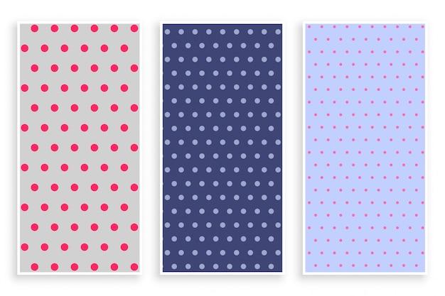 Polka dots pattern banner set Free Vector