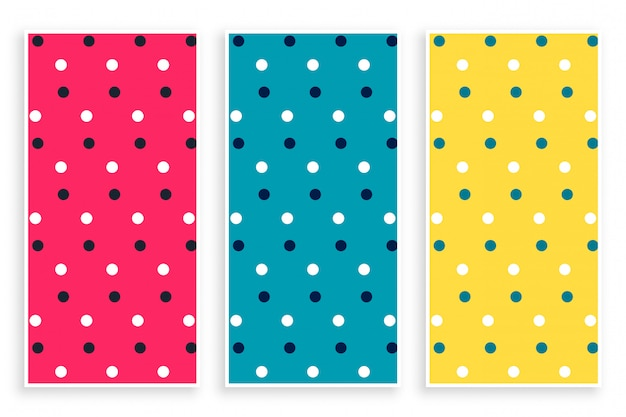 Polka pattern set in three colors Free Vector