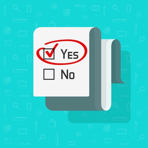 [はい]が選択されたチェックマークのチェックボックスが付いたアンケートフォームドキュメントを投票 Premiumベクター