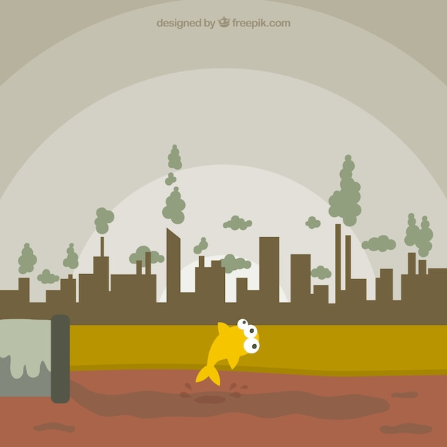 Polluted city concept Free Vector
